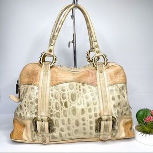 Arcadia Made in Italy Croc Embossed Cream Tan Bag